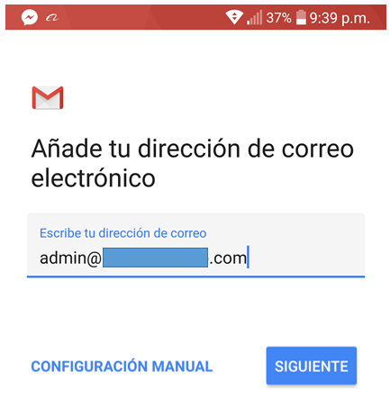 Paso 3 para añadir tu correo de Migadu en la aplicación de Gmail