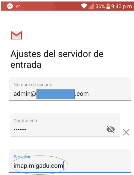 Paso 6 para añadir tu correo de Migadu en la aplicación de Gmail