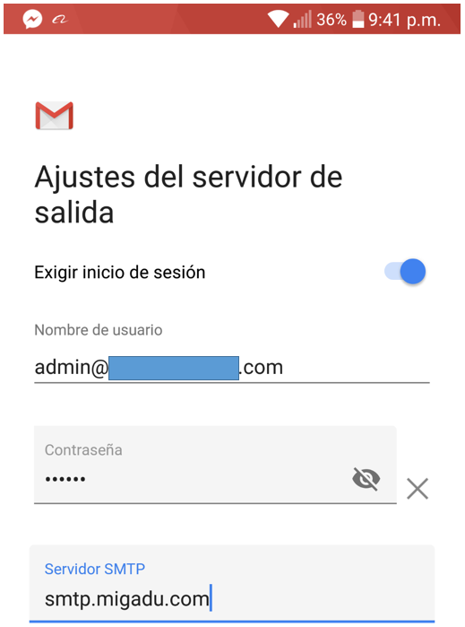 Paso 7 para añadir tu correo de Migadu en la aplicación de Gmail